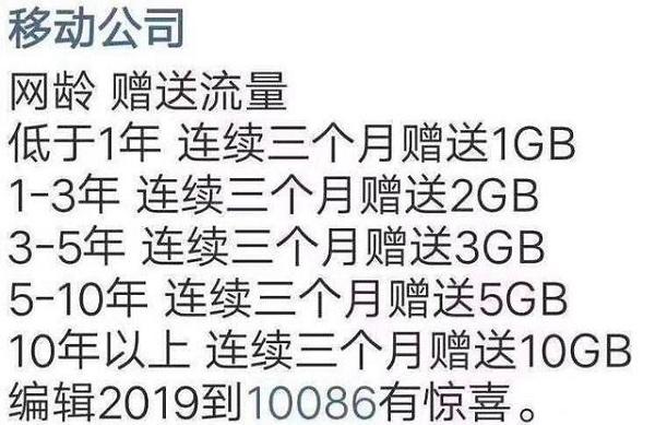 中国移动测网龄送流量